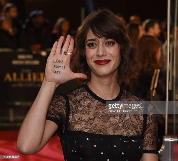 "Lizzy Caplan attends the UK Premiere of ""Allied"" at Odeon Leicester Square on November 21, 2016 in London, England."