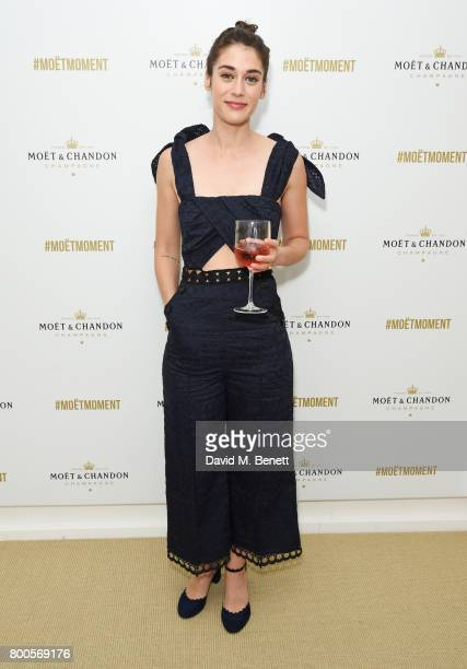 Lizzy Caplan celebrates with Moet Ice Imperial in the Moet Chandon Suite whilst watching the action unfold on Centre Court at the Aegon Championships...