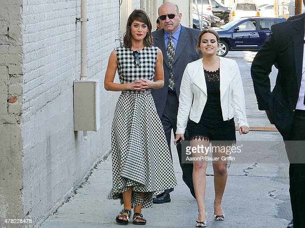 Lizzy Caplan is seen greeting fans outside 'Jimmy Kimmel Live' on June 23 2015 in Los Angeles California