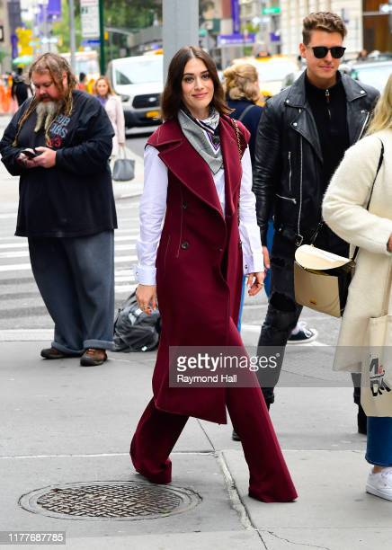 Lizzy Caplan is seen is seen outside Good Morning America on October 22, 2019 in New York City.