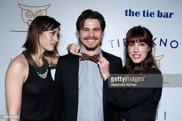 Lizzy Caplan Jason Ritter and Leslie Sloane at the launch of Tie The Knot a charity benefitting marriage equality through the sale of limited edition...