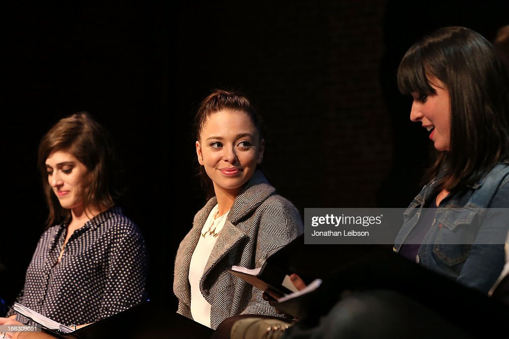 Lizzy Caplan, Portia Doubleday and Beth Dover attend The Sundance Institute Feature Film Program Screenplay Reading Of 'Life Partners' by lab fellows Susana Fogel and Joni Lefkowitz at Actors' Gang at the Ivy Substation on December 12, 2012 in Culver City, California.