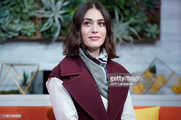 "Lizzy Caplan visits BuzzFeed's ""AM To DM"" on October 22, 2019 in New York City."