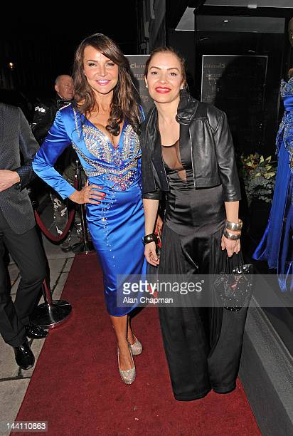 Lizzy Cundy and Elen Rivas leaving the Nina Naustdal anniversary event in Walton Street on May 9 2012 in London England