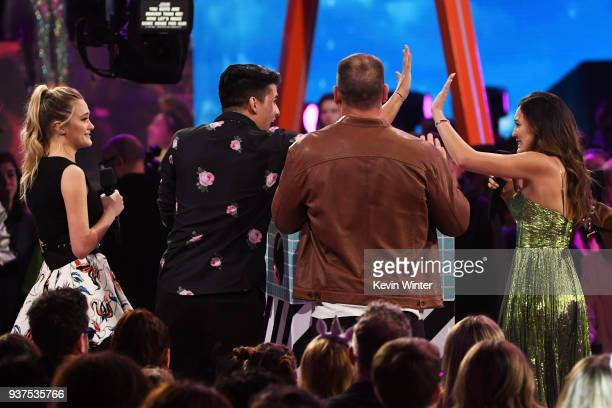 Lizzy Greene Alex Wassabi John Cena and LaurDIY onstage at Nickelodeon's 2018 Kids' Choice Awards at The Forum on March 24 2018 in Inglewood...