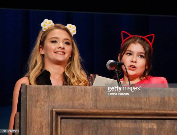 Lizzy Greene and Addison Riecke attend the 1st Annual CatCon Awards Show at the 3rd Annual CatCon at Pasadena Convention Center on August 13 2017 in...