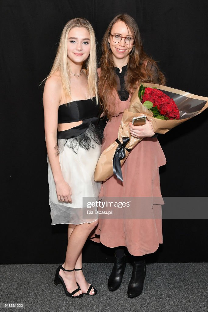 Lizzy Greene and Leanne Marshall pose backstage for Leanne Marshall during New York Fashion Week: The Shows at Gallery II at Spring Studios on February 14, 2018 in New York City.