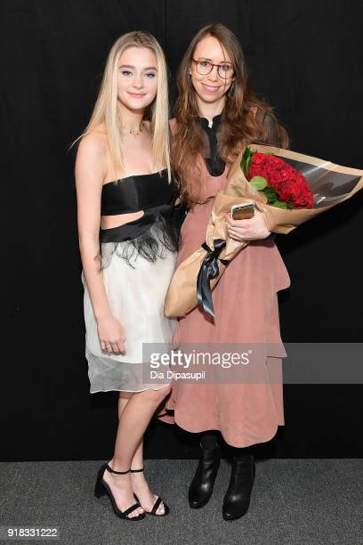 Lizzy Greene and Leanne Marshall pose backstage for Leanne Marshall during New York Fashion Week The Shows at Gallery II at Spring Studios on...