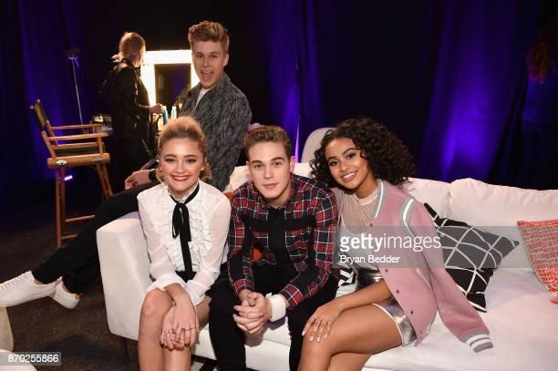Lizzy Greene Owen Joyner Ricardo Hurtado and Daniella Perkins pose backstage at the 2017 Nickelodeon HALO Awards at Pier 36 on November 4 2017 in New...