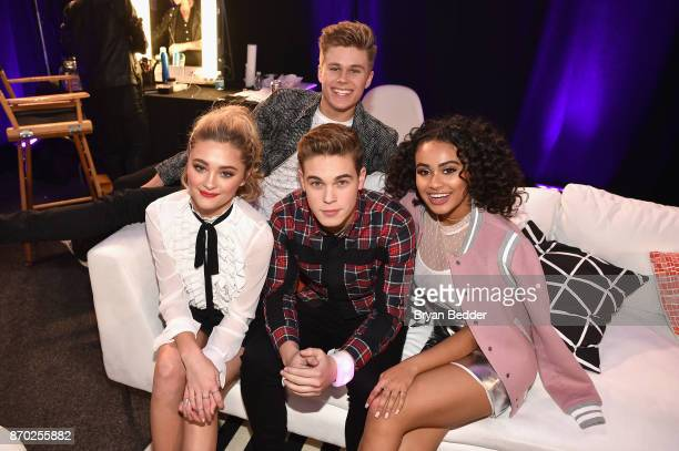 Lizzy Greene Owen Joyner Ricardo Hurtado and Daniella Perkins pose backstage at the 2017 Nickelodeon HALO Awards at Pier 36 on November 4 2017 in New...