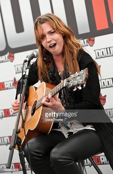 Lizzy Hale of Halestorm performs an acoustic set during Download Festival at Donington Park on June 8 2012 in Castle Donington United Kingdom