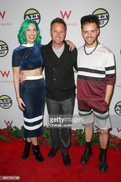 Lizzy Plapinger Chris Harrison and Max Hershenow attend the ALTimate Rooftop Christmas Party at W Hollywood on December 9 2013 in Hollywood California
