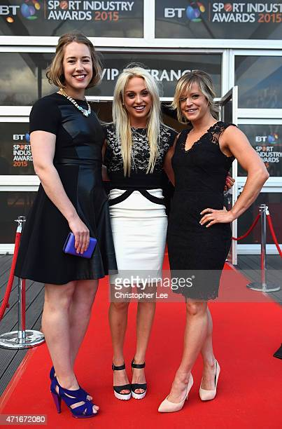 Lizzy Yarnold Aimee Fuller and Jenny Jones pose on the red carpet at the BT Sport Industry Awards 2015 at Battersea Evolution on April 30 2015 in...