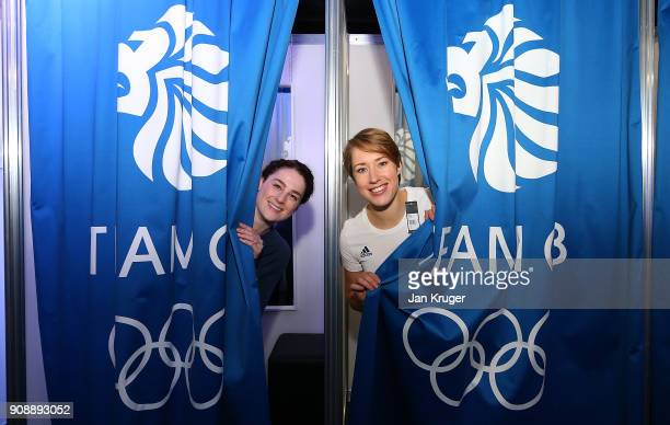 Lizzy Yarnold and Laura Deas pose during the Team GB Kitting Out Ahead Of Pyeongchang 2018 Winter Olympic Games on January 22 2018 in Stockport...
