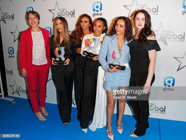 Lizzy Yarnold and Laura Deas pose with Perrie Edwards Jesy Nelson LeighAnne Pinnock and Jade Thirlwall of Little Mix winners of the Best Group Best...