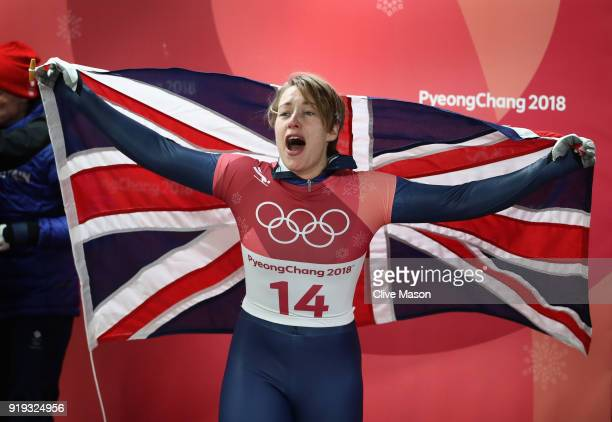 Lizzy Yarnold of Great Britain celebates as she secures the gold medal at the Womens Skeleton on day eight of the PyeongChang 2018 Winter Olympic...