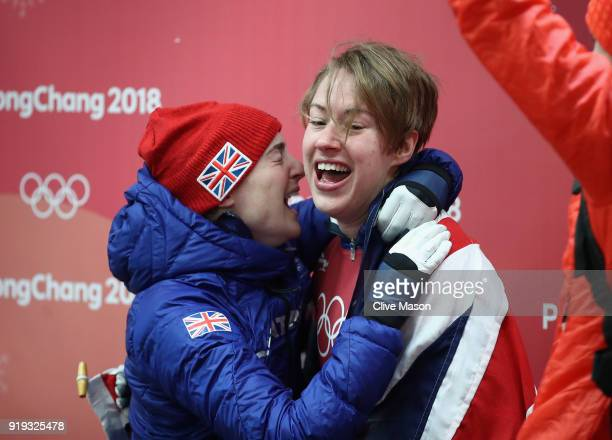 Lizzy Yarnold of Great Britain celebates with team mate and bronze medalist Laura Deas at the Womens Skeleton on day eight of the PyeongChang 2018...