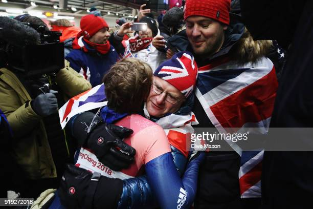 Lizzy Yarnold of Great Britain celebrates as she wins gold during the Women's Skeleton on day eight of the PyeongChang 2018 Winter Olympic Games at...
