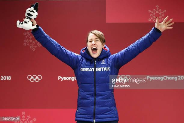 Lizzy Yarnold of Great Britain celebrates winning gold in the Women's Skeleton on day eight of the PyeongChang 2018 Winter Olympic Games at Olympic...