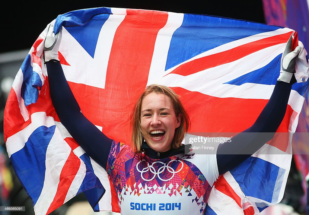 Lizzy Yarnold of Great Britain celebrates winning the gold medal during the Women's Skeleton on Day 7 of the Sochi 2014 Winter Olympics at Sliding Center Sanki on February 14, 2014 in Sochi, Russia.