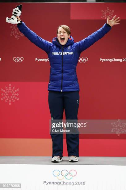 Lizzy Yarnold of Great Britain celebrates winning the Women's Skeleton on day eight of the PyeongChang 2018 Winter Olympic Games at Olympic Sliding...
