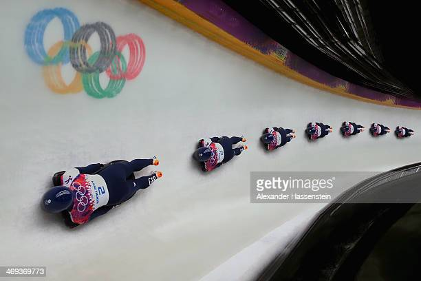 Lizzy Yarnold of Great Britain competes in her final run during the Women's Skeleton on Day 7 of the Sochi 2014 Winter Olympics at Sliding Center...