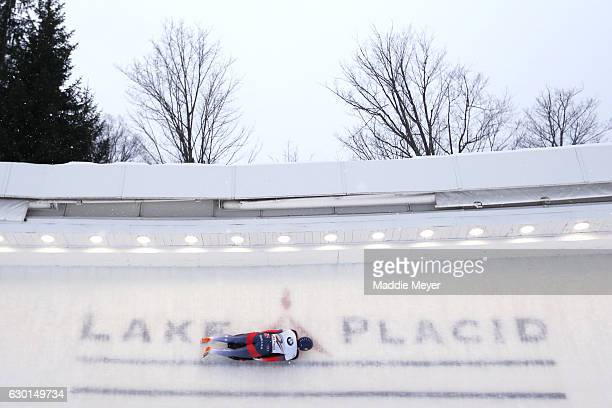 Lizzy Yarnold of Great Britain completes her first run during day 2 of the 2017 IBSF World Cup Bobsled Skeleton at Lake Placid Olympic Center on...