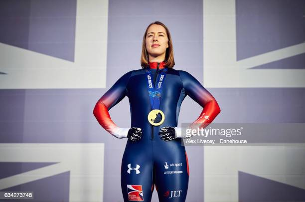 Lizzy Yarnold of Great Britain poses for a portrait on February 7 2017 in Portsmouth England February 9 2017 will mark one year to the next Winter...