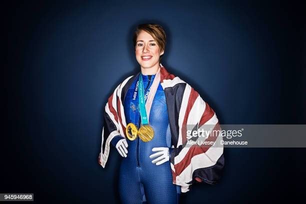 Lizzy Yarnold of Great Britain poses for a portrait wearing gold medals she won at the Sochi 2014 and PyeongChang 2018 Winter Olympic Games on March...