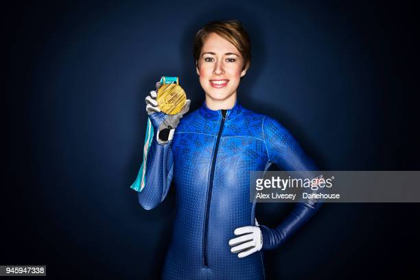 Lizzy Yarnold of Great Britain poses with her gold medal from the PyeongChang 2018 Winter Olympic Games on March 9 2018 in Portsmouth England Double...