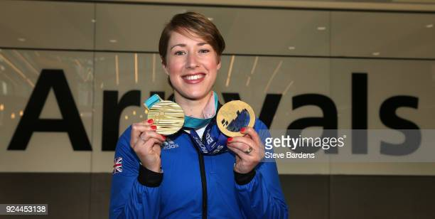 Lizzy Yarnold of Great Britain poses with her Skeleton gold medals from Sochi 2014 and PyeongChang Winter Games during the Team GB Homecoming from...