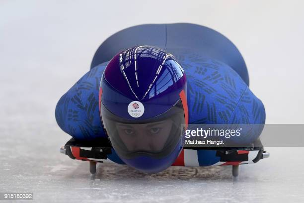 Lizzy Yarnold of Great Britain practices during Women's Skeleton training ahead of the PyeongChang 2018 Winter Olympic Games at the Olympic Sliding...