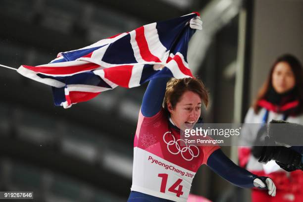 Lizzy Yarnold of Great Britain reacts after her final run during the Women's Skeleton on day eight of the PyeongChang 2018 Winter Olympic Games at...
