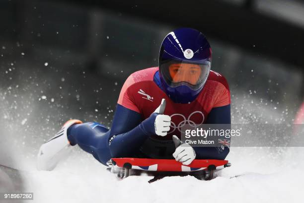 Lizzy Yarnold of Great Britain reacts after sliding during the Women's Skeleton heat two at Olympic Sliding Centre on February 16 2018 in...
