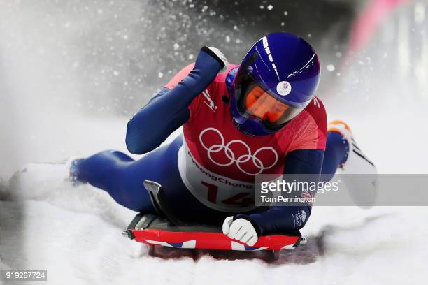 Lizzy Yarnold of Great Britain reacts as she finishes her final run during the Women's Skeleton on day eight of the PyeongChang 2018 Winter Olympic...