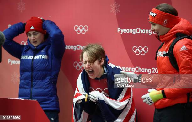 Lizzy Yarnold of Great Britain reacts as she secures the gold medal at the Womens Skeleton on day eight of the PyeongChang 2018 Winter Olympic Games...