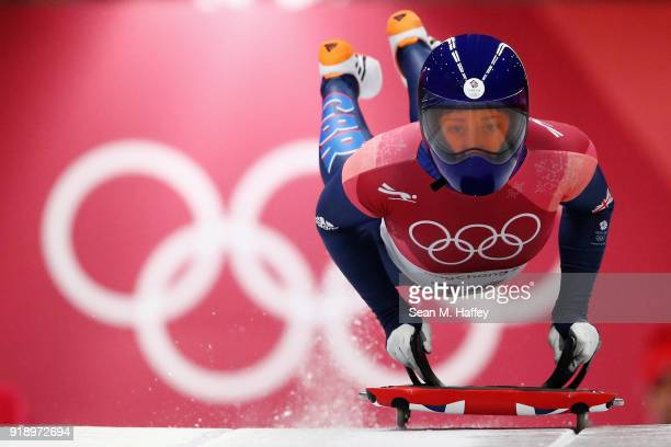 Lizzy Yarnold of Great Britain slides during the Women's Skeleton at Olympic Sliding Centre on February 16 2018 in Pyeongchanggun South Korea
