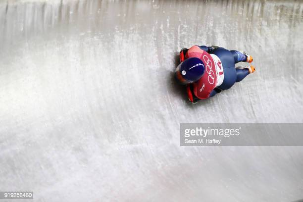 Lizzy Yarnold of Great Britain slides during the Women's Skeleton heat three on day eight of the PyeongChang 2018 Winter Olympic Games at Olympic...