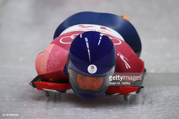 Lizzy Yarnold of Great Britain slides during the Women's Skeleton final run on day eight of the PyeongChang 2018 Winter Olympic Games at Olympic...