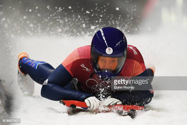 Lizzy Yarnold of Great Britain slides into the finish area during the Women's Skeleton heat one at Olympic Sliding Centre on February 16 2018 in...