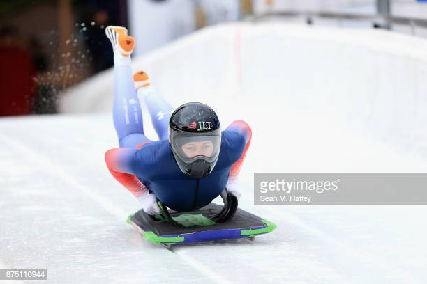 Lizzy Yarnold of Great Britain takes a training run in the Women's Skeleton during the BMW IBSF Bobsleigh Skeleton World Cup at Utah Olympic Park...