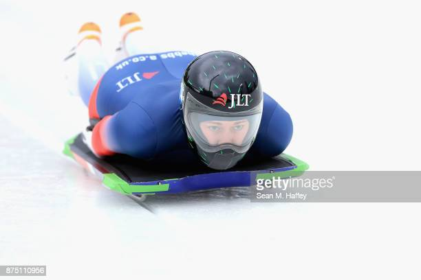 Lizzy Yarnold of Great Britain takes a training run in the Women's Skeleton during the BMW IBSF Bobsleigh + Skeleton World Cup at Utah Olympic Park...