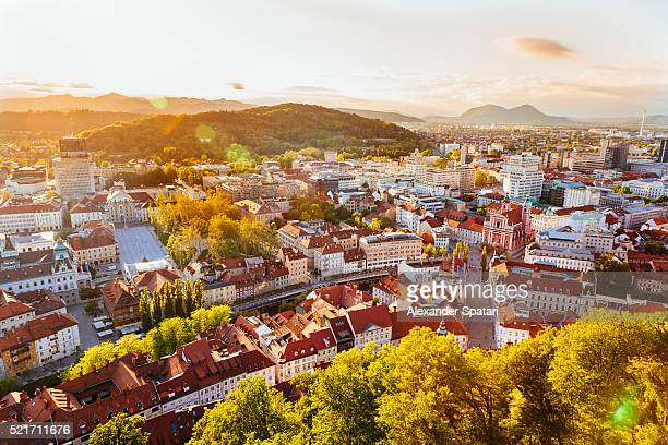 Ljubljana cityscape seen from above at sunset, Slovenia, EU