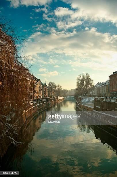 Ljubljana, old city center, river Ljubljanica