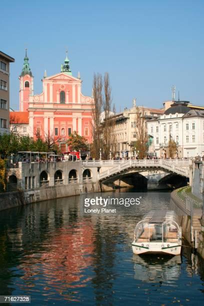 Ljubljanica River with Presernov trg in background, Ljubljana, Slovenia