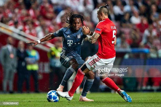 Ljubomir Fejsa of Benfica competes for the ball with Renato Sanches of Bayern Munich during the Group E match of the UEFA Champions League between SL...