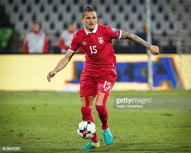 Ljubomir Fejsa of Serbia in action during the FIFA 2018 World Cup Qualifier between Serbia and Austria at stadium Rajko Mitic on October 9 2016 in...