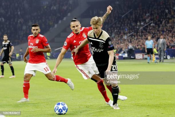 Ljubomir Fejsa of SL Benfica Frenkie de Jong of Ajax during the UEFA Champions League group E match between Ajax Amsterdam and SL Benfica at the...