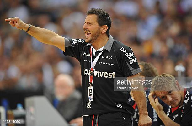 Ljubomir Vranjes head coach of Flensburg gestures during the Lufthansa Final Four final match between Kiel and Flensburg at the O2 World on May 8...