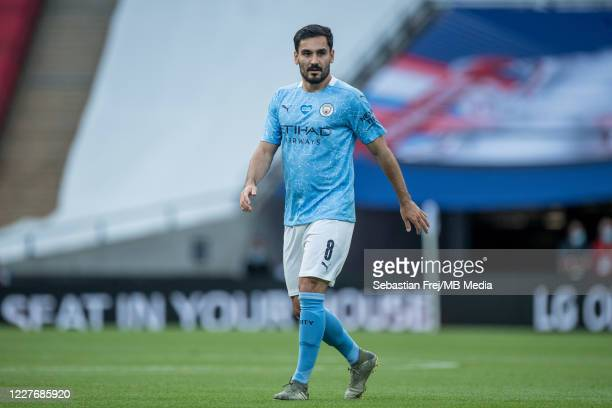 lkay Gundogan of Manchester City during the FA Cup Semi Final match between Arsenal and Manchester City at Wembley Stadium on July 18 2020 in London...